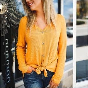 Tops - LAST ONE! Convertible Mustard Waffle Knit Tee